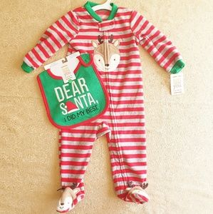 Nwt Just 1 you by Carters Reindeer drsanta bib set